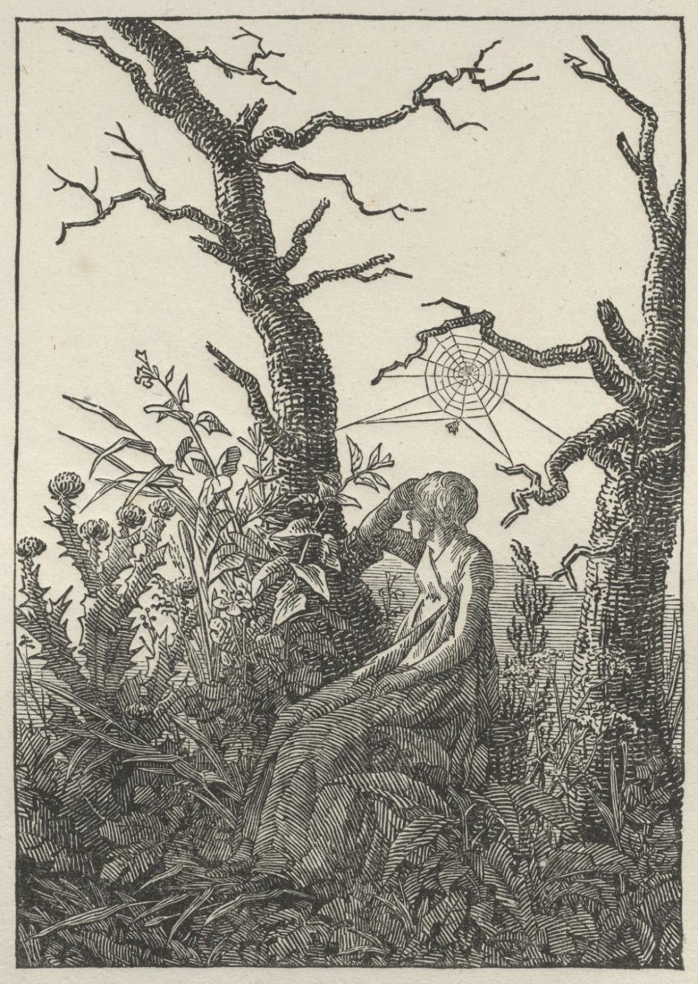 Caspar David Friedrich, Woman Seated Under a Spider's Web (Melancholy), woodcut, c. 1803 (detail), Philadelphia Museum of Art 1993-128-1