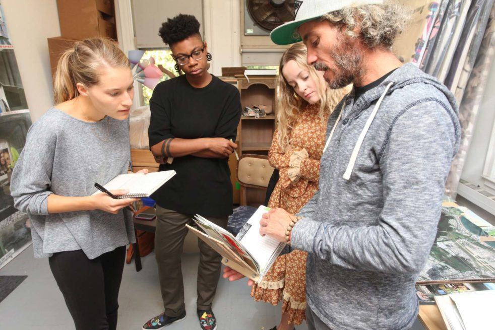 The Incubation Series is an interdisciplinary collaboration between students in the Fine Arts and History of Art graduate programs at UPenn. 2018-2019 programming is supported in part by a Grant Award from The Sachs Program for Arts Innovation. Image: Curators (left to right) Ramey Mize, Tamir Williams, and Isabelle Lynch conduct a studio visit with Heryck Tomassini