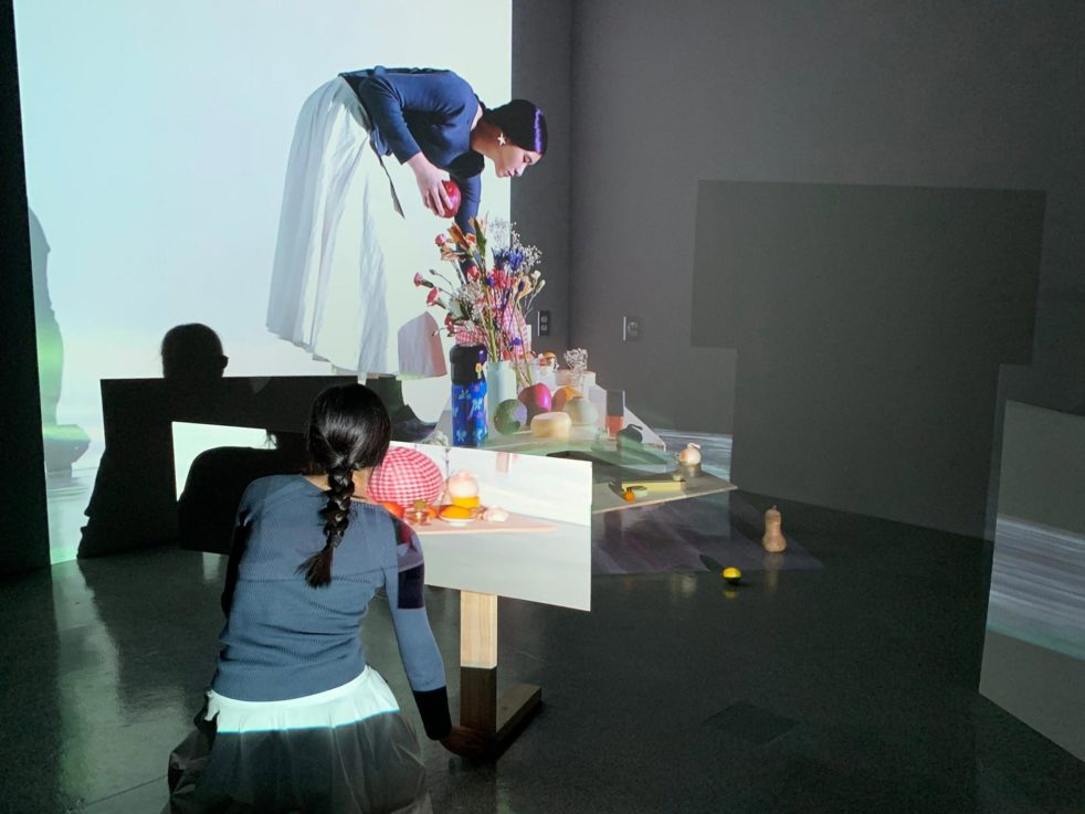 The Incubation Series is an interdisciplinary collaboration between students in the Fine Arts and History of Art graduate programs at UPenn. 2018-2019 programming is supported in part by a Grant Award from The Sachs Program for Arts Innovation. Image: Jessi Ali Lin, Untitled, 2018, projection, wood, pvc pipe, flowers, red apples, lemon, lime, ginger, teacup, artist, variable dimensions.