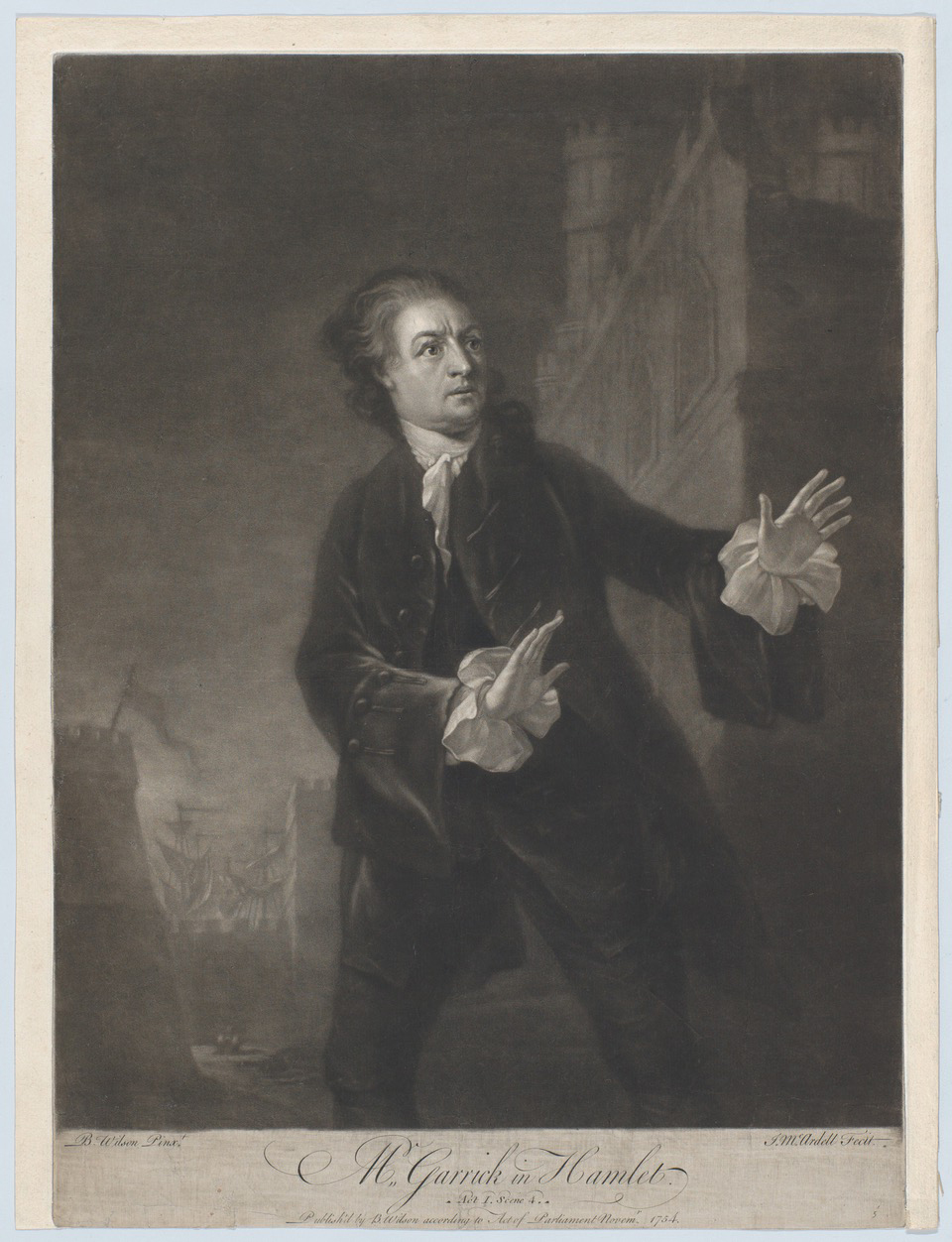 """Promotional materials for """"A Puppeteer with the Palsy Performs Scenes from Shakespeare"""" utilized the iconic image of David Garrick in Hamlet (Shakespeare, Act 1, Scene 4), 1754, engraved by James McArdell."""