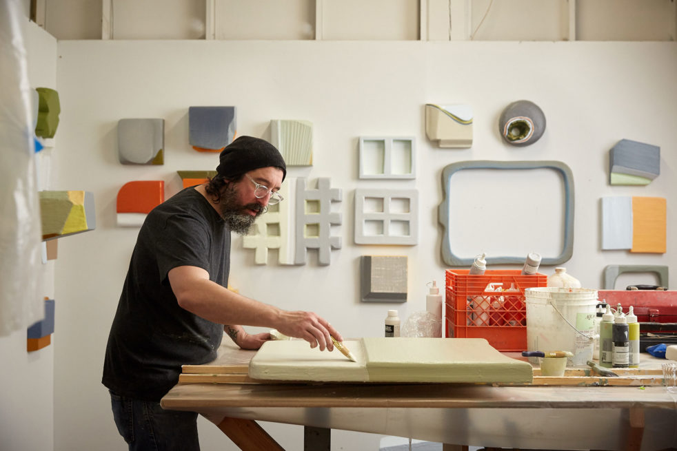 Lucas Kelly in his studio.