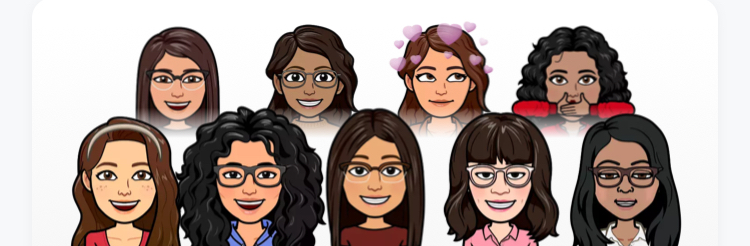 A screenshot taken from a snapchat group, depicting 9 women.