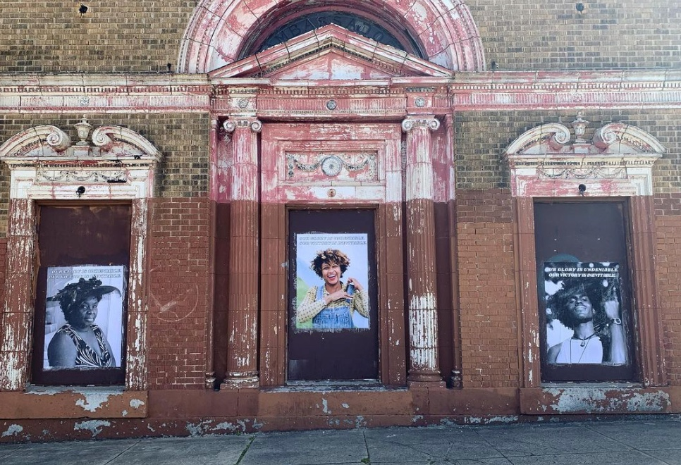"""""""Witness"""" Three portrait photographs pasted on a abandoned building as a tryptic"""