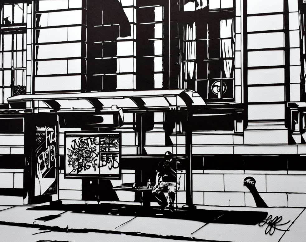 """Monochromatic papercut artwork titled """"Justice for Big Floyd"""" by Rosa Leff"""