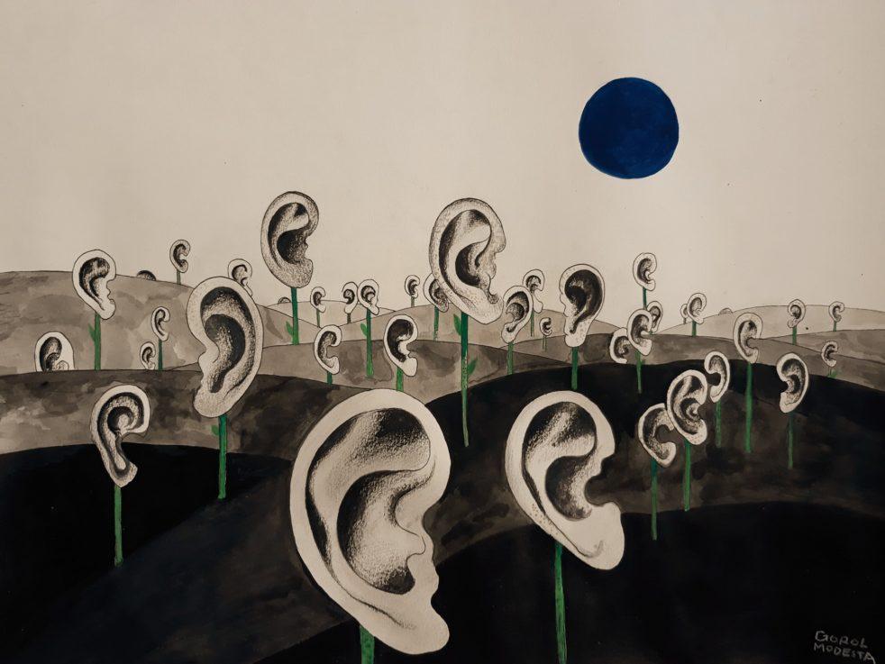 Illustration of ears in field by Ania Vu