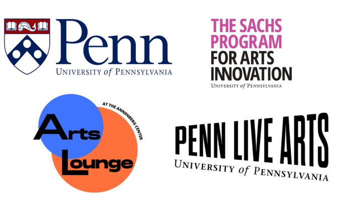 Logos for the University of Pennsylvania, The Sachs Program for Arts Innovation, the Arts Lounge, and Penn Live Arts