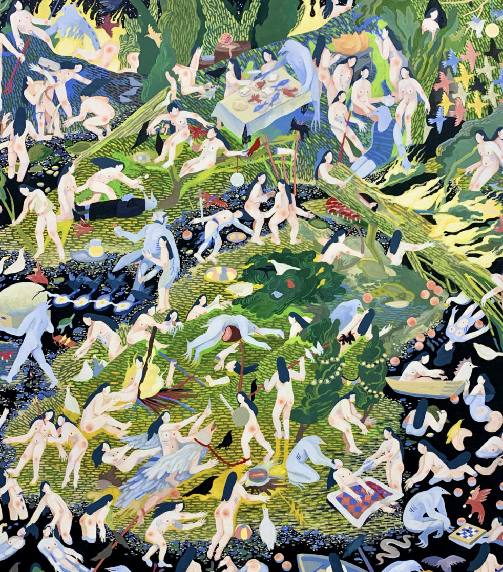 Acrylic on Canvas painting by KaySeohyungLee. A scene with many bodies strewn across a landscape.